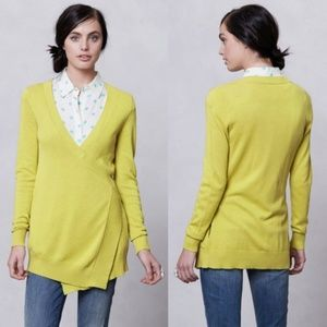 MOTH for Anthropologie XS Lime Green Wrap Sweater